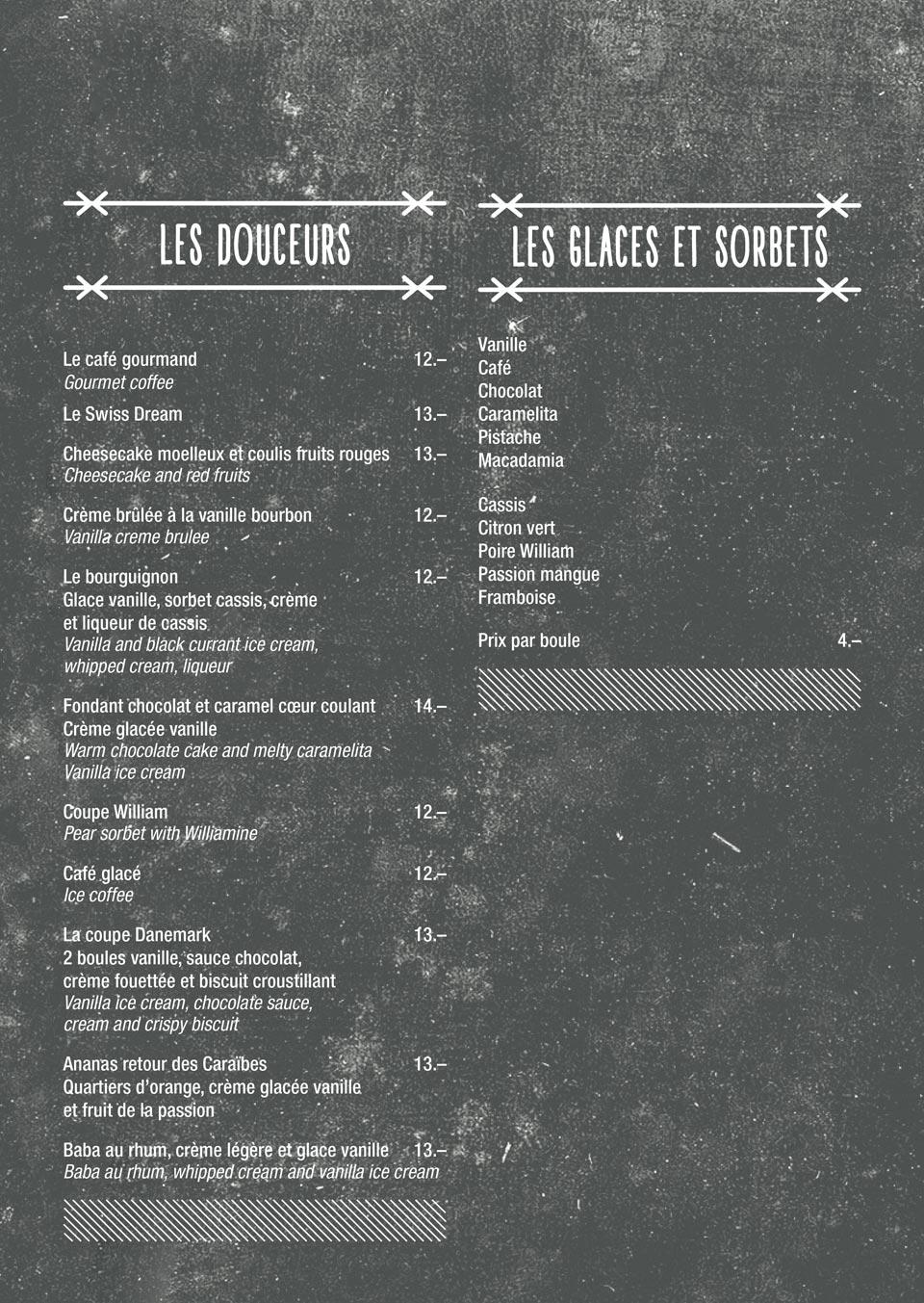 Brasserie du Rive Nyon - Carte des desserts